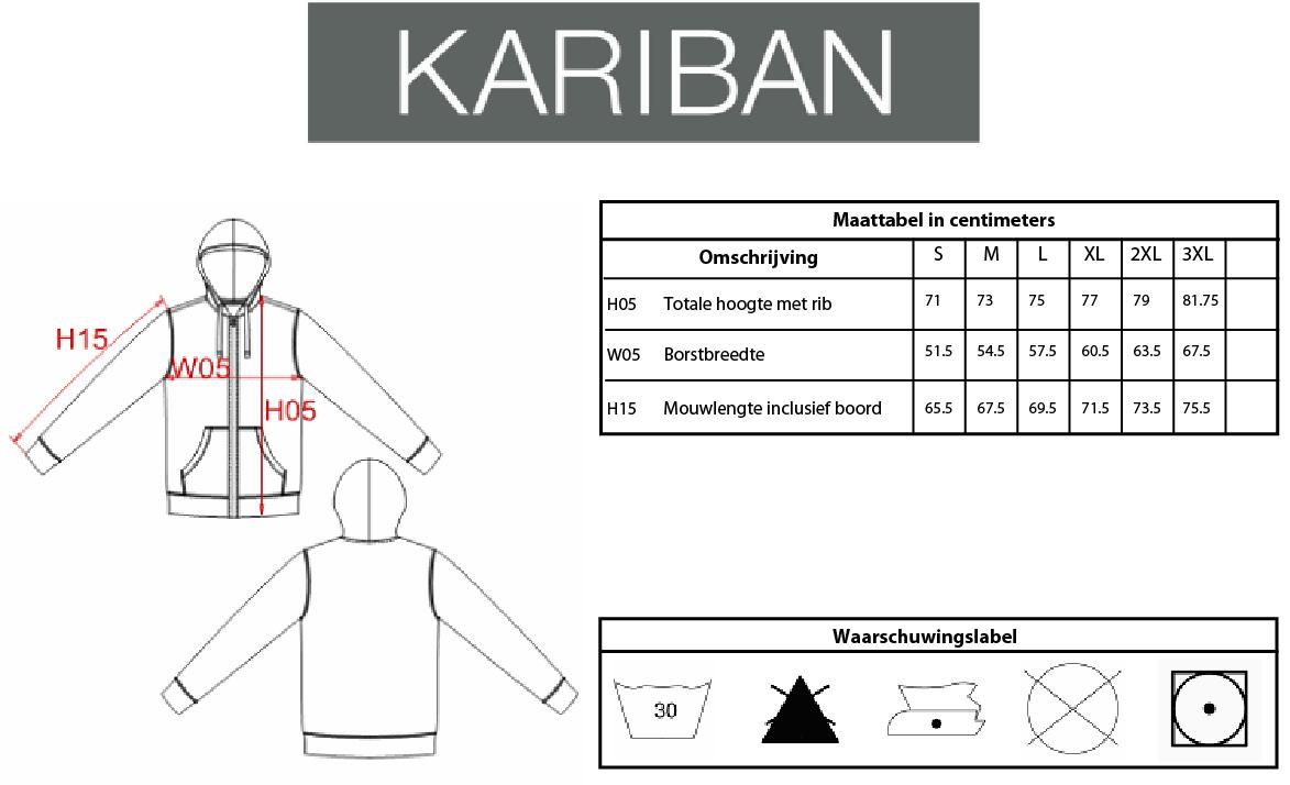 Maattabel Kariban KV2300