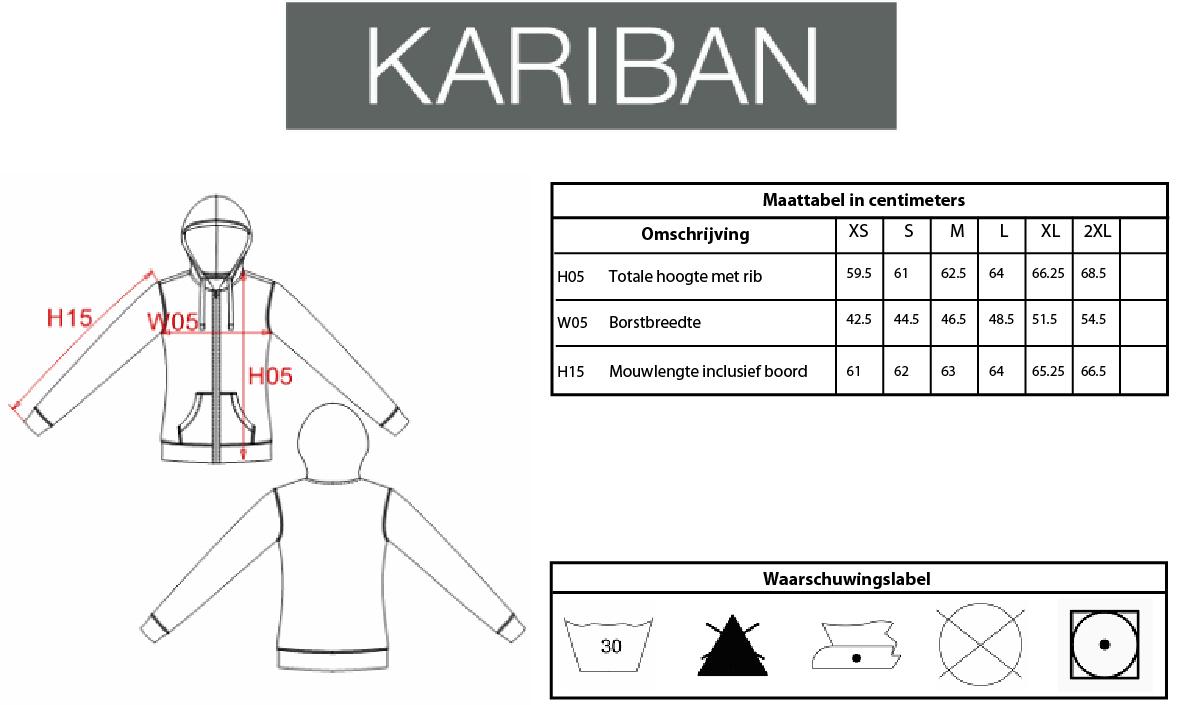 Maattabel Kariban KV2301