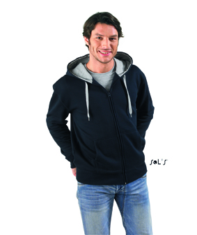 Sols Soul Men Contrast Zip Hooded sweatshirt