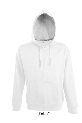Sols Soul Men Contrast Zip Hooded sweatshirt White - Grey Melange