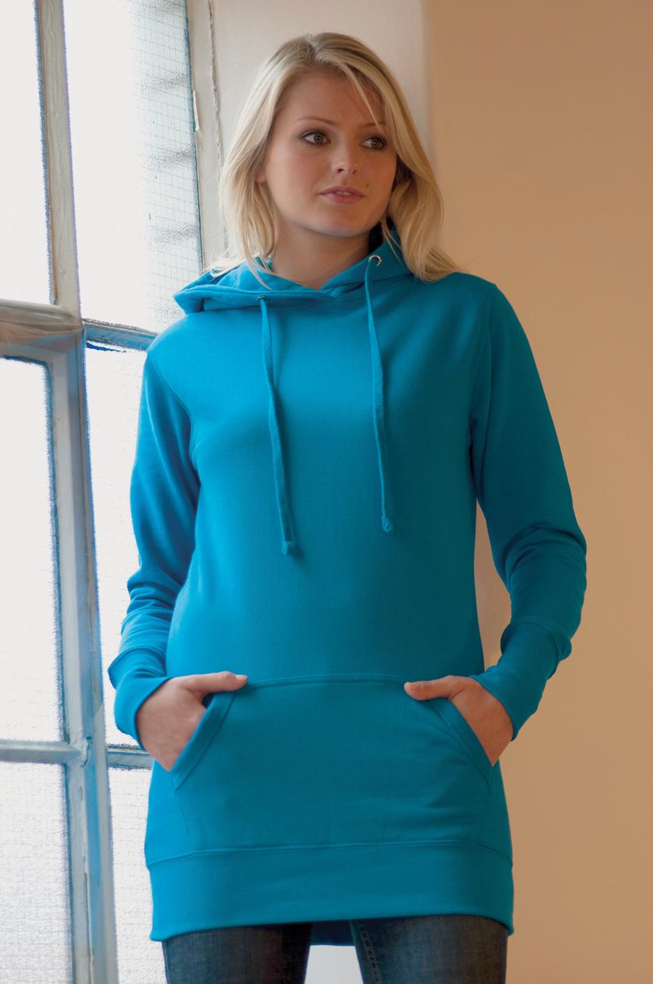 AWDis Girlie Longline Hoodie blauw