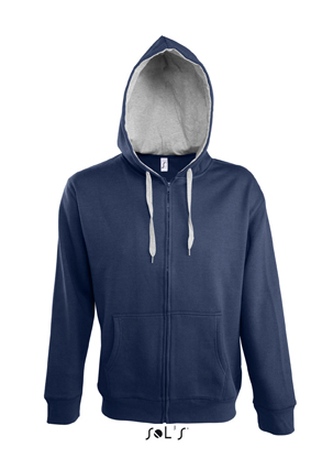 Sols Soul Men Contrast Zip Hooded French Navy - Grey Melange