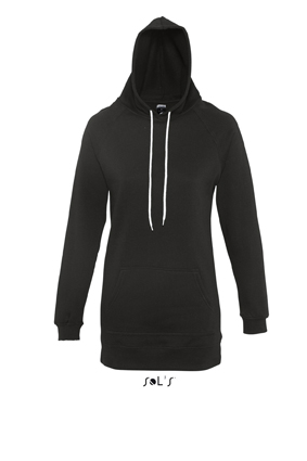 Sols Street Longline Lady Hooded Sweater Black