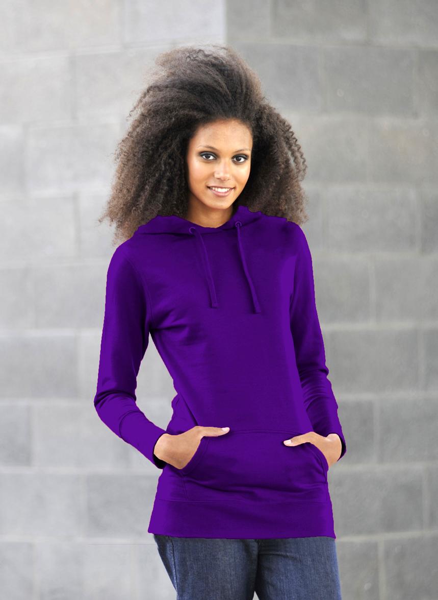 AWDis Girlie Longline Hoodie Purple
