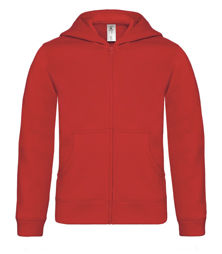 B-C Hooded Full Zip Kids Red