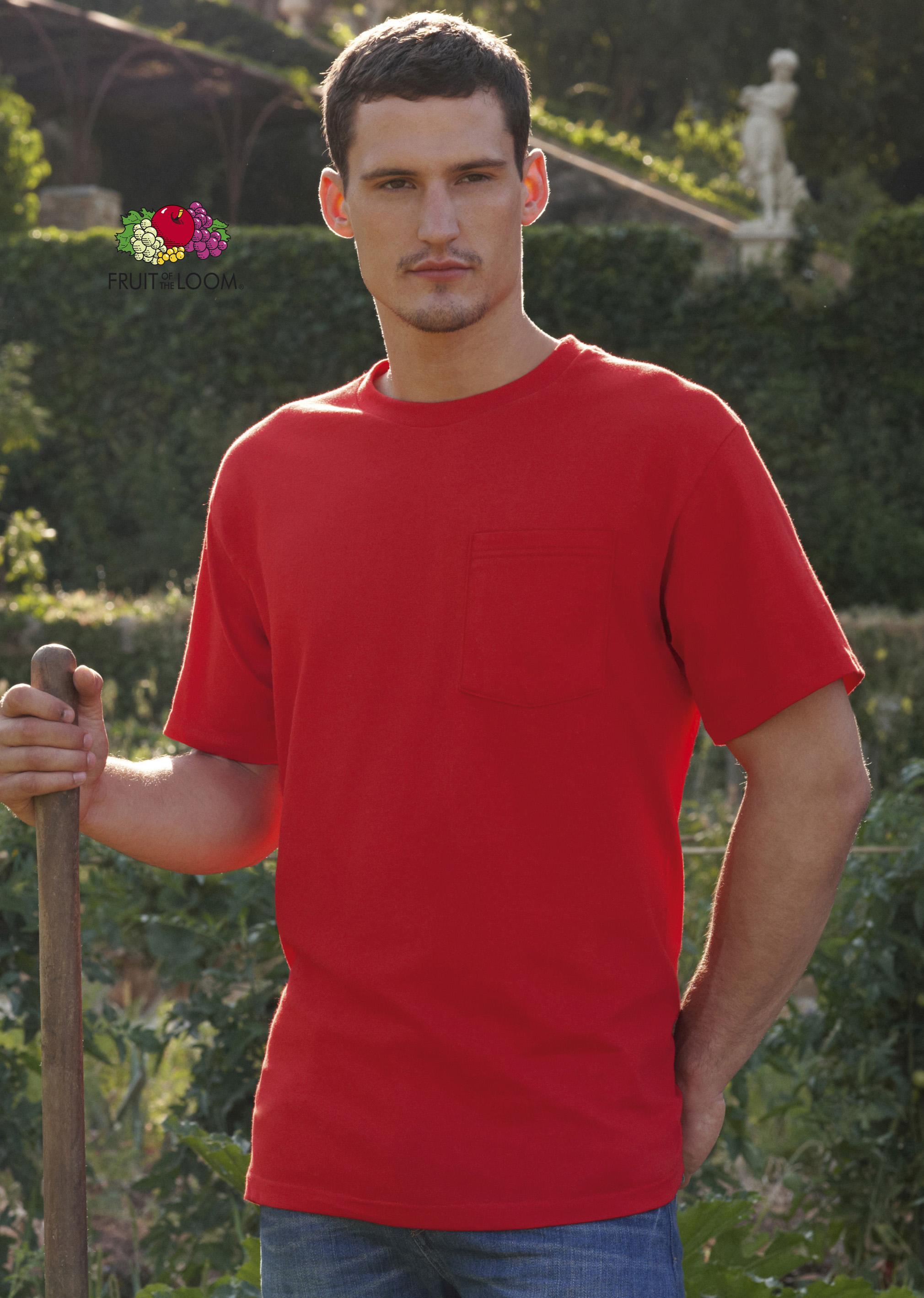 T-shirt met borst zakje heavy weight