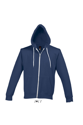 Sols Silver Unisex Zip Hooded Abyss Blue