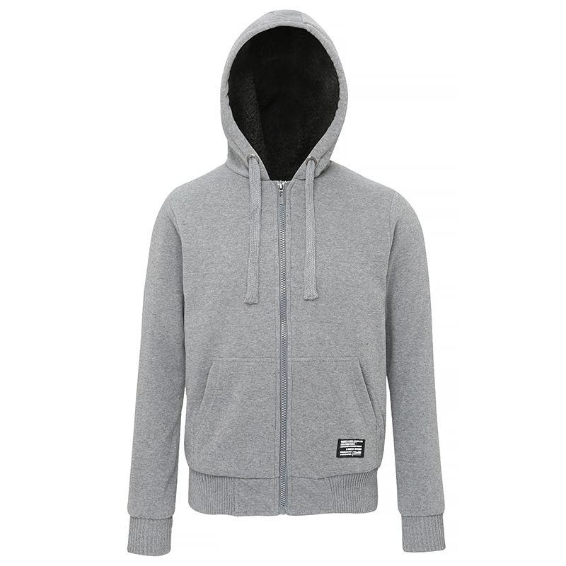 Affordable Fashion Sherpa fleece lined zip hoodie grijs