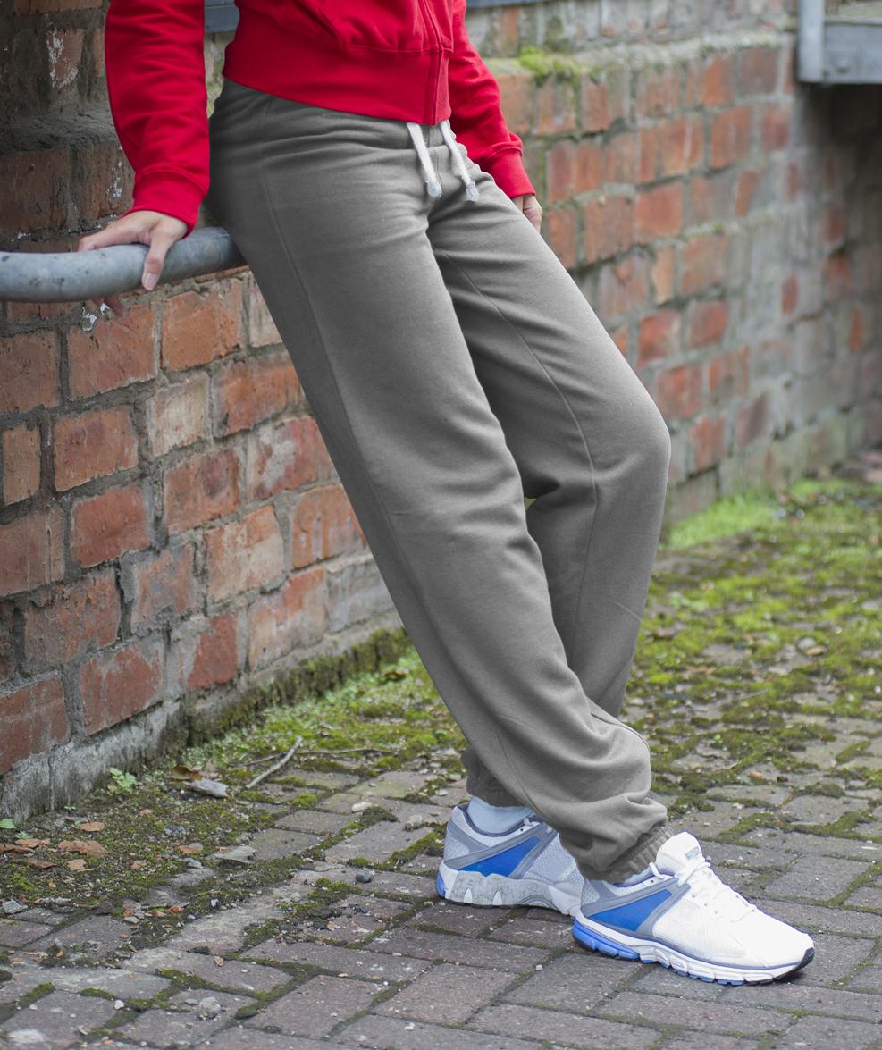 AWDis Girlie Cuffed Dames Joggingbroek JH076 Heather Grey