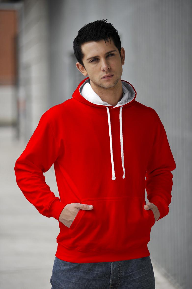 AWDis JH003 Varsity hoodie Fire Red