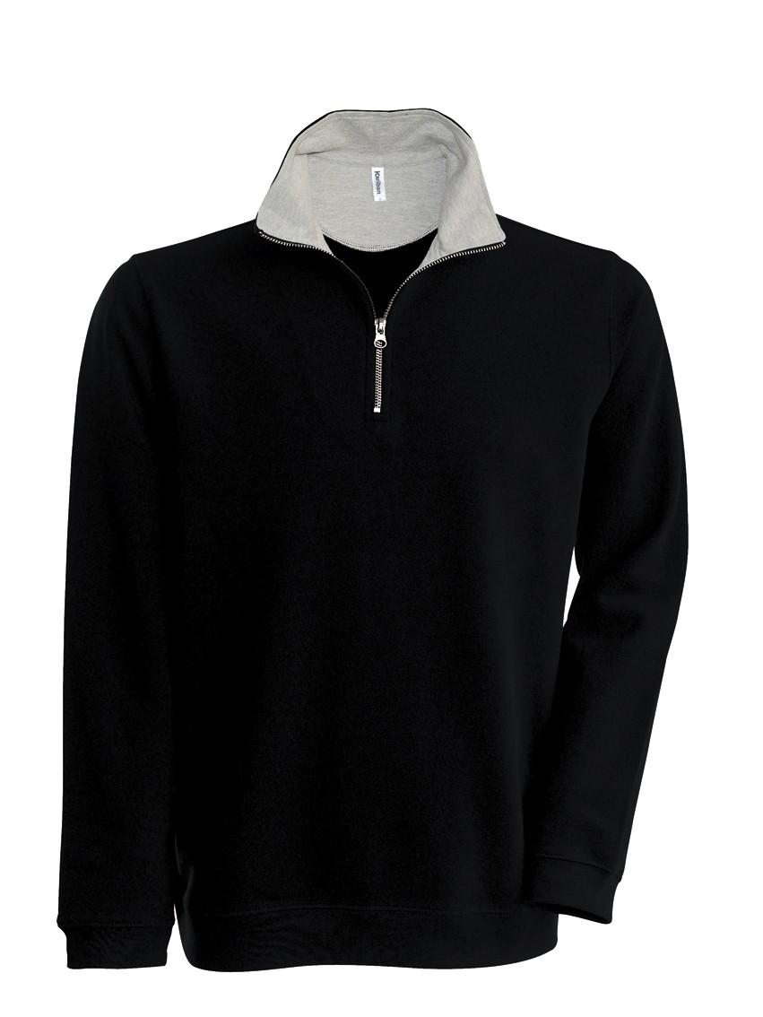 Kariban Trucker Zipneck sweater vest K206 Black - Heather Grey