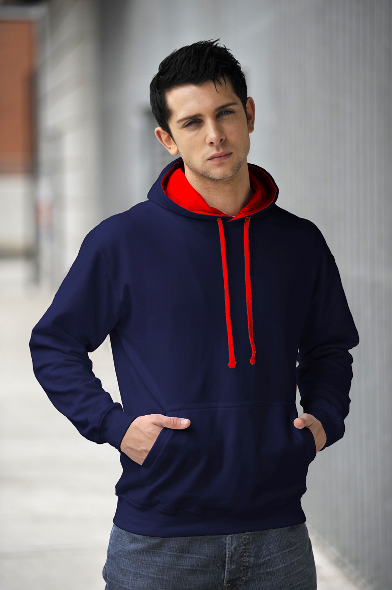 AWDis Varsity Hoodie French Navy & Fire Red