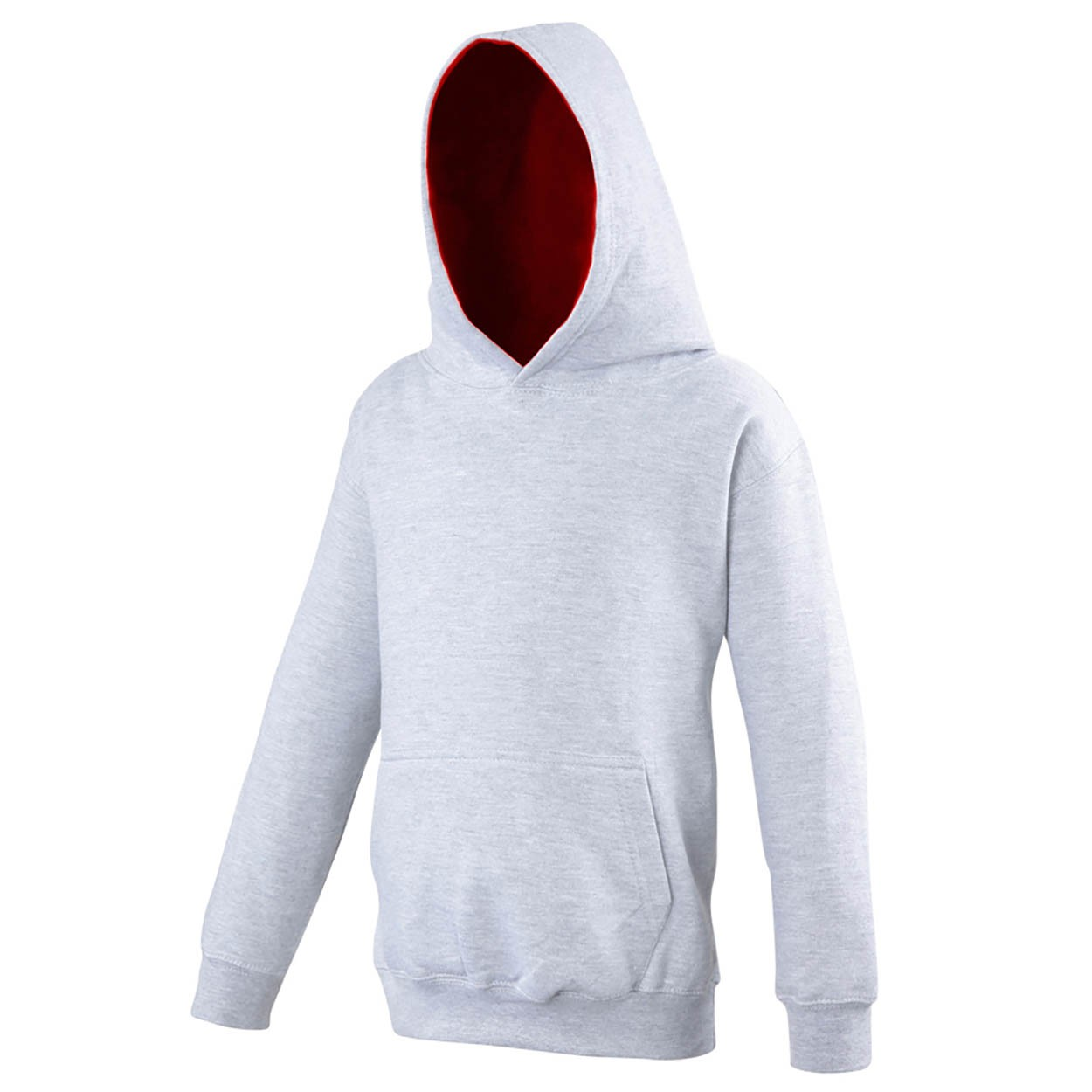 AWDis Kids Varsity Hoodie Kind heather grey fire red