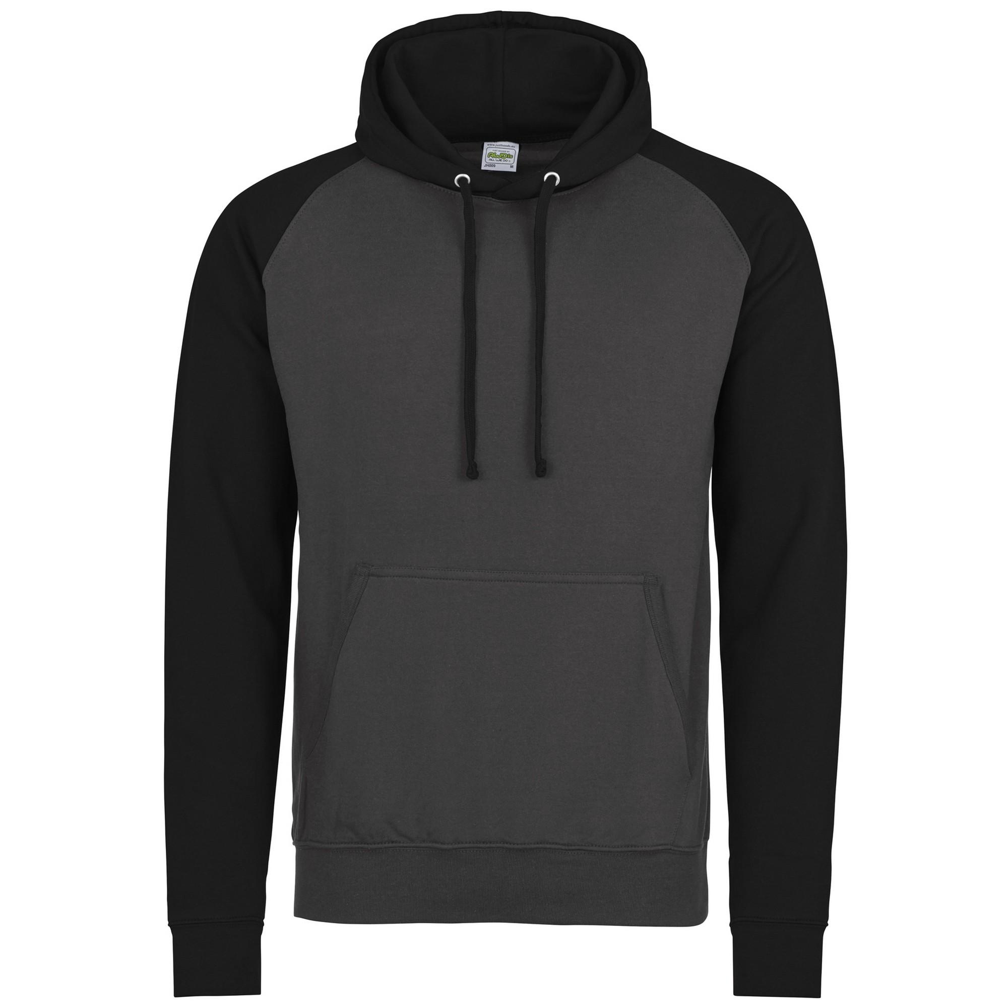 AWDis Hoods Kids baseball hoodie Charcoal Jet Black