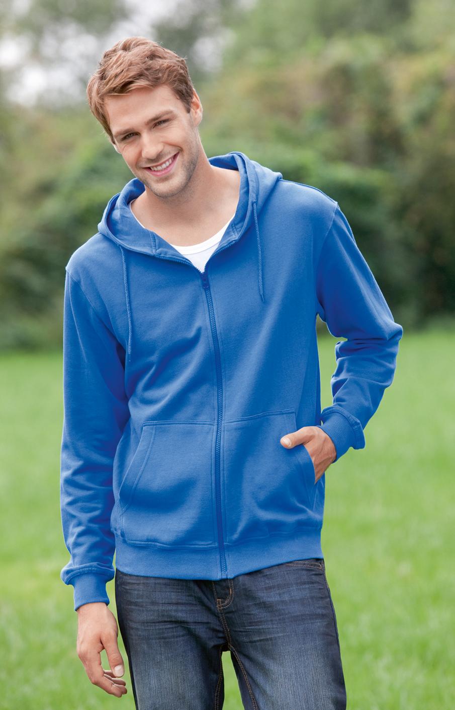 Hanes Jacket Organic Heren Hoodie met rits
