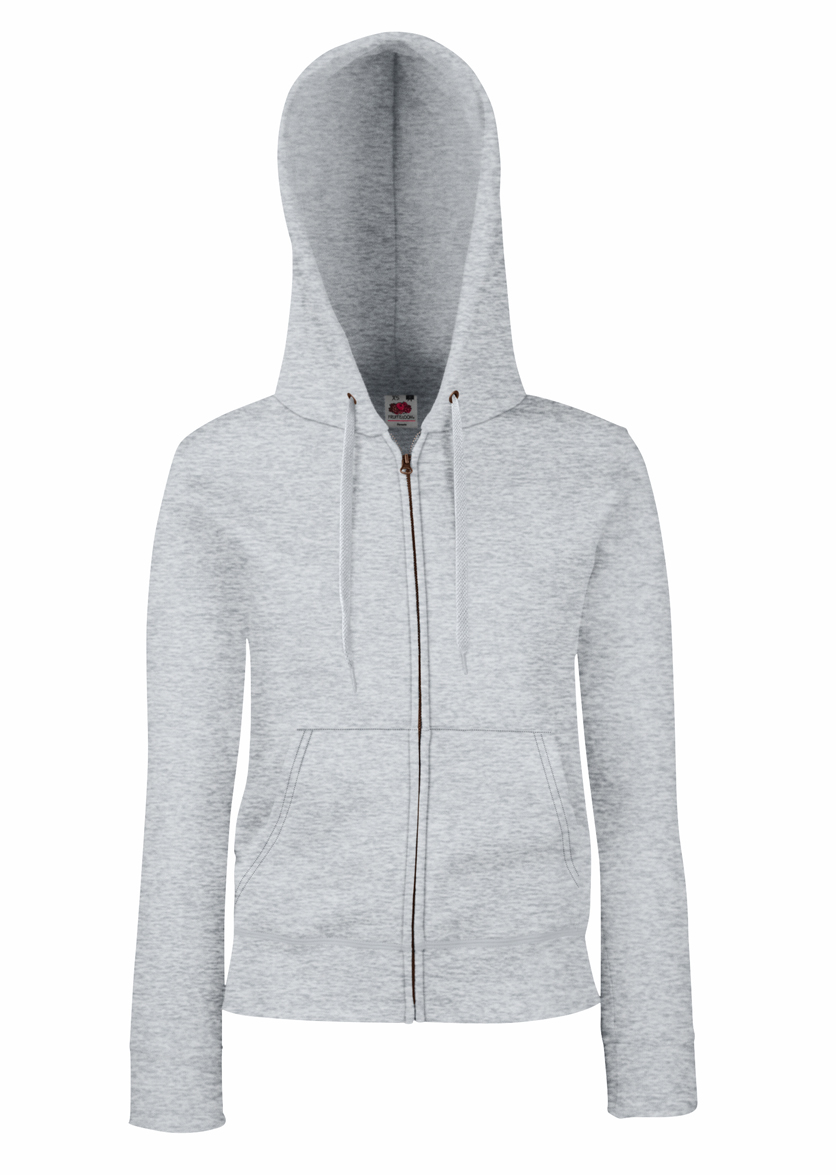 Fruit of the Loom Lady Fit Hooded Jacket 621180 Heather Grey