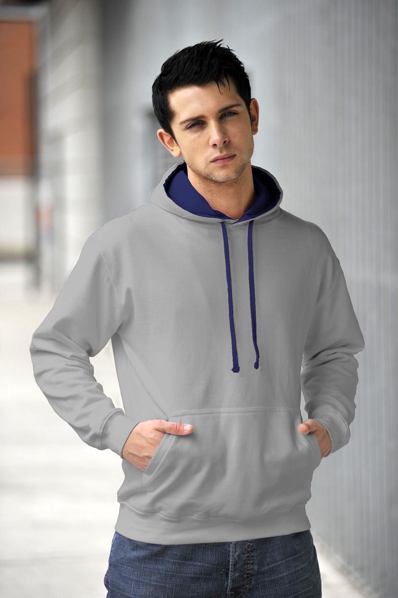 AWDis JH003 Varsity hoodie Heather Grey