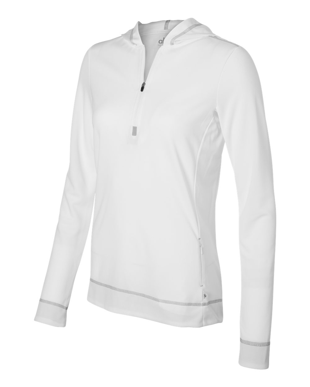 Alo Womens Performance Half Zip Hoodie W3002 White - Grey