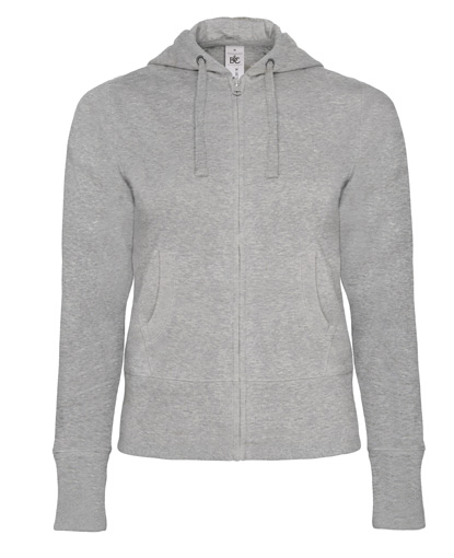 B-C Hooded Full Zip Women Heather Grey