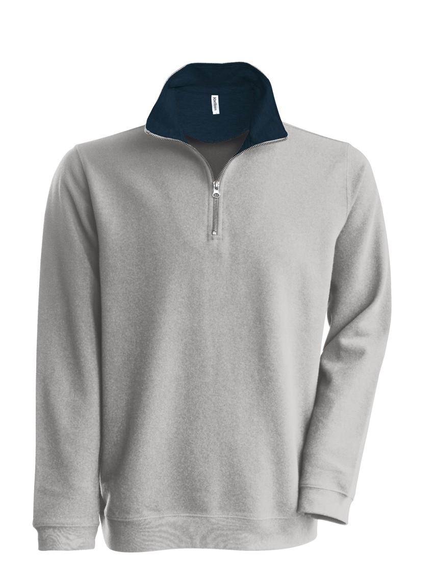 Kariban Trucker Zipneck sweater vest K206 Heather Grey - Navy