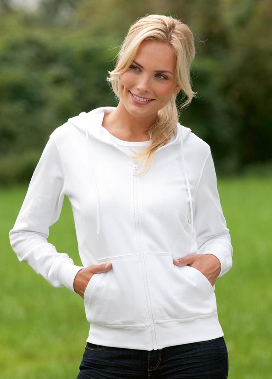 Hanes Hooded Jacket Organic Dames Hoodie