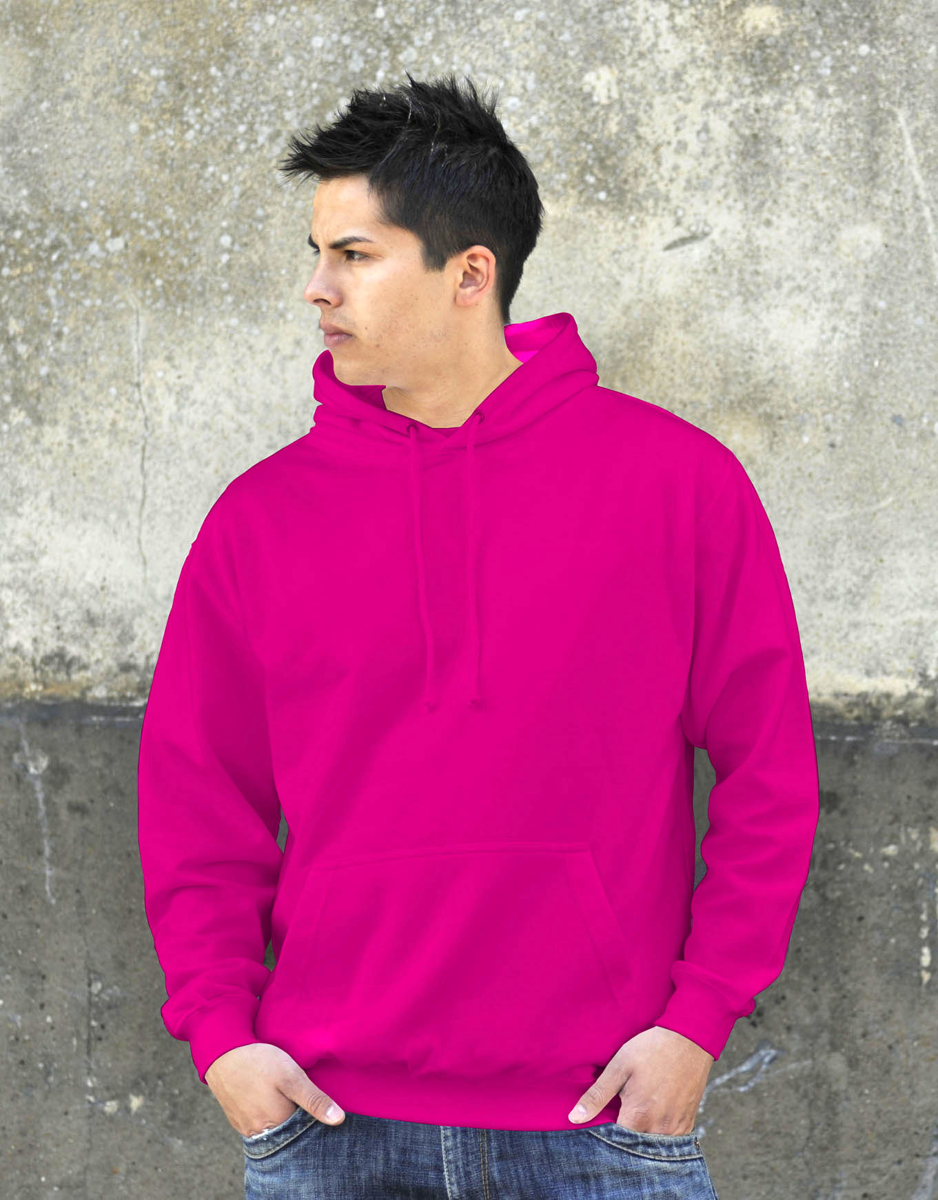 AWDis College Hoodie Candyfloss Pink