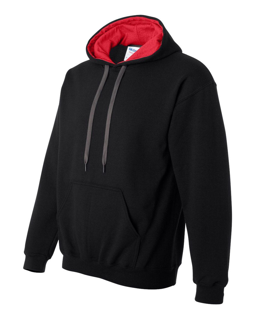 Gildan Heavy Blend Contrasted Hoodie GI185C00 Black - Red
