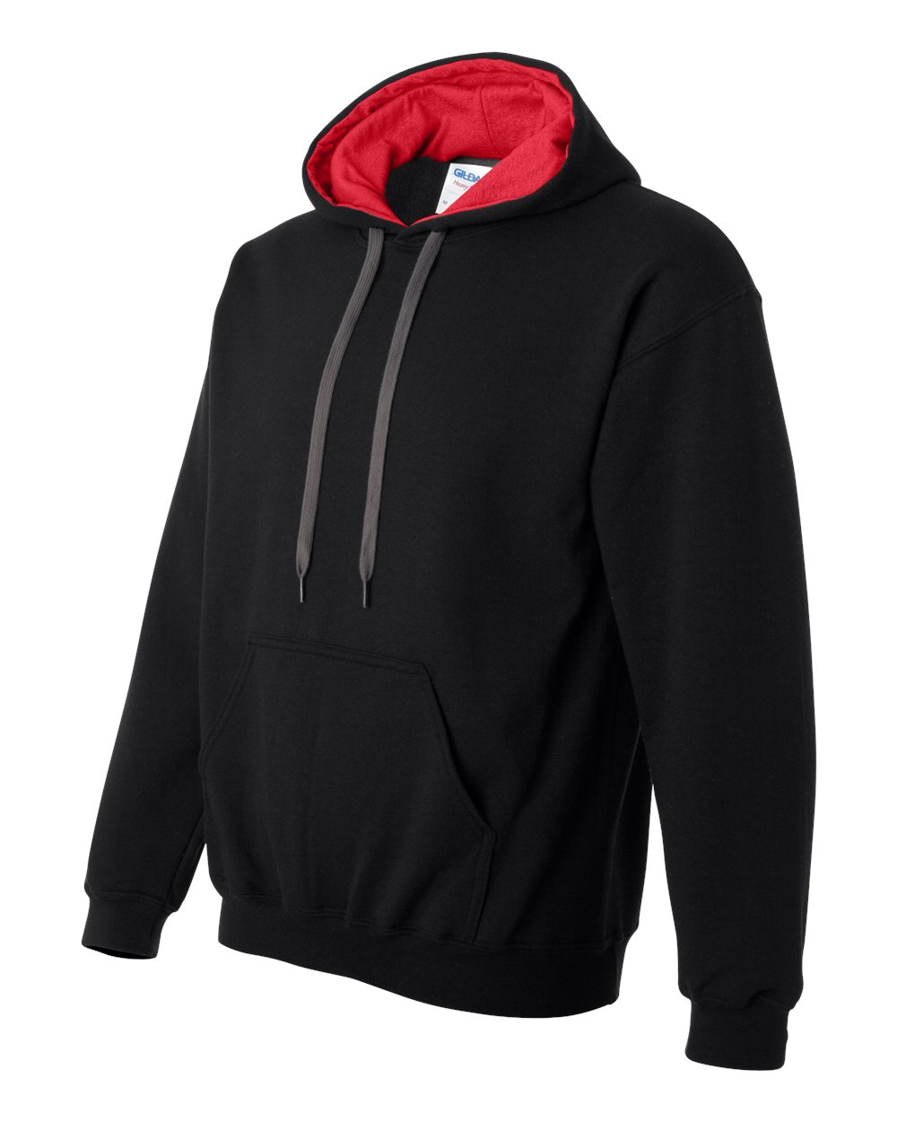 Gildan Heavy Blend Contrasted Hoodie GI185C00 Black - Red