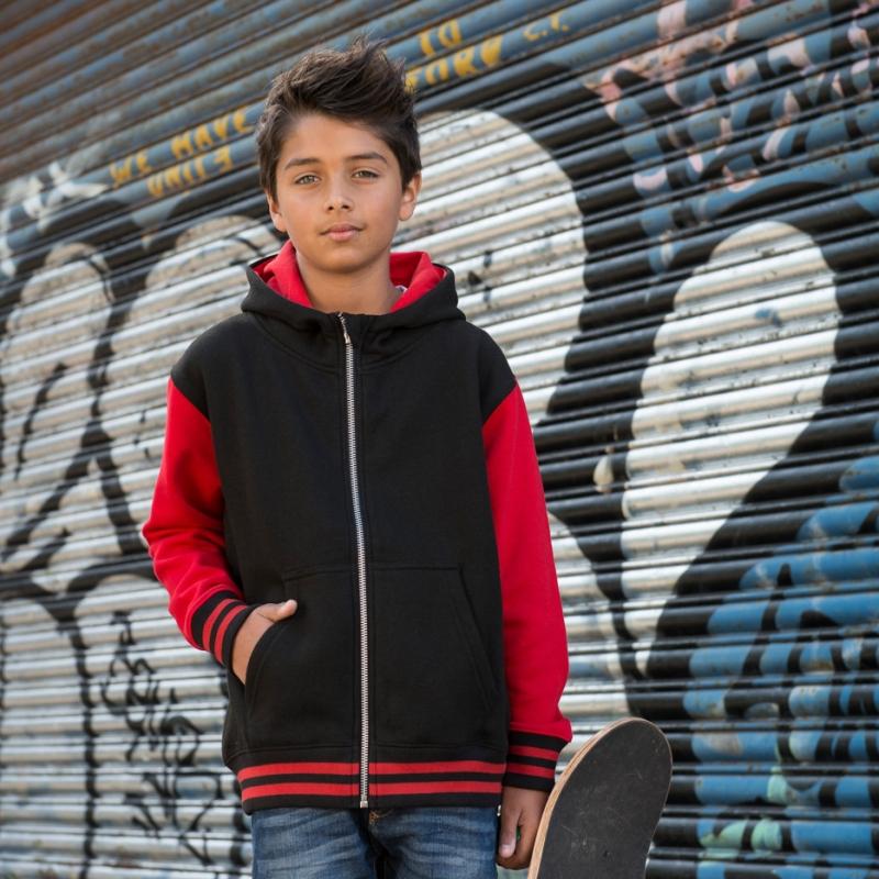AWDis Hoods Kids urban varsity zoodie jet black fire red