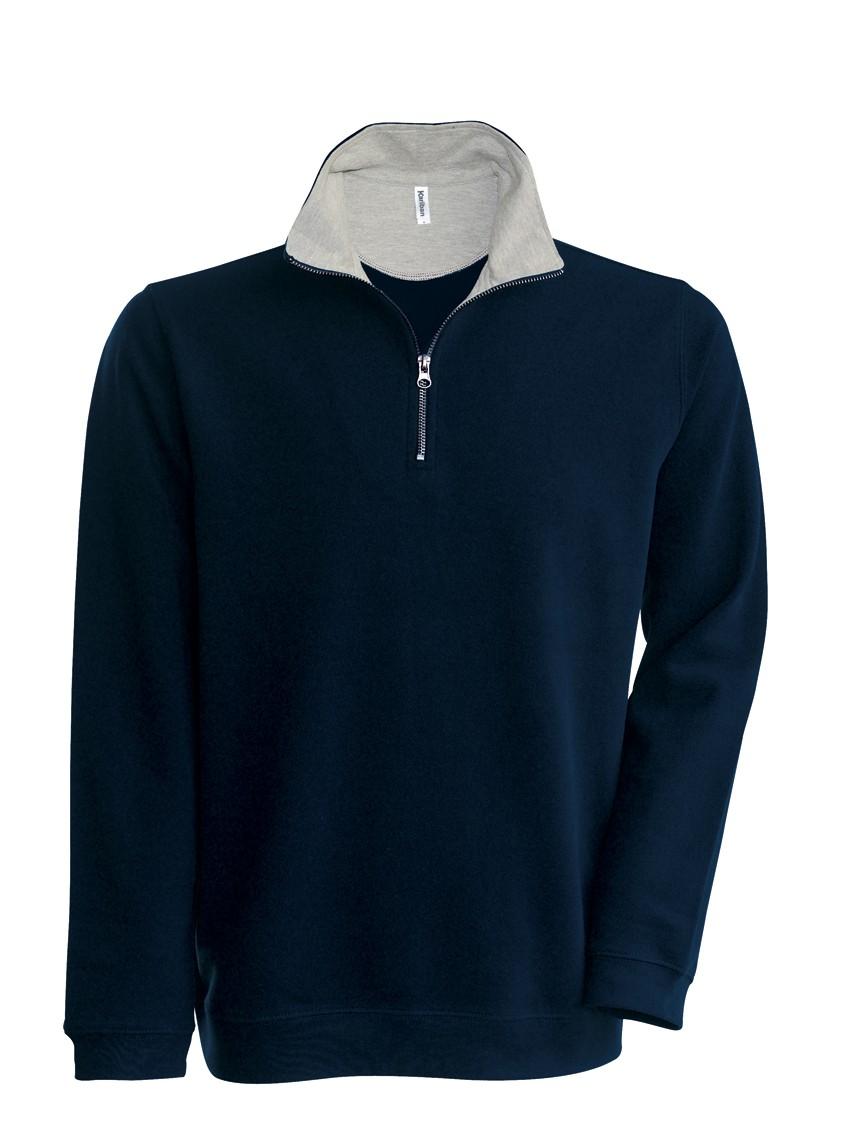 Kariban Trucker Zipneck sweater vest K206 Navy - Heather Grey