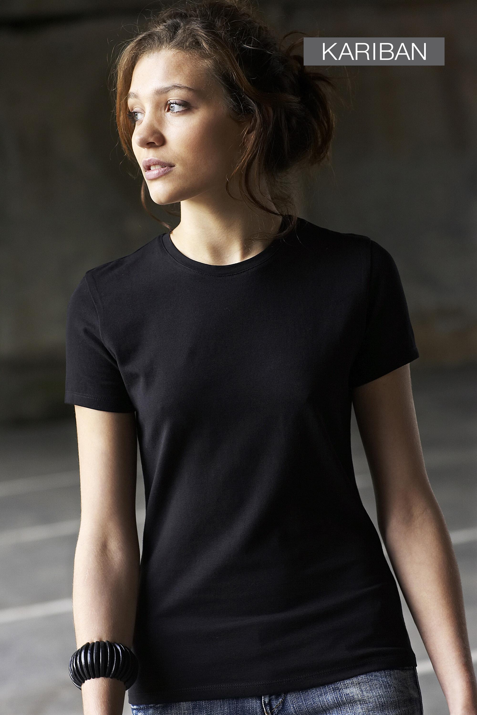 Dames T-shirt met ronde hals en korte mouwen