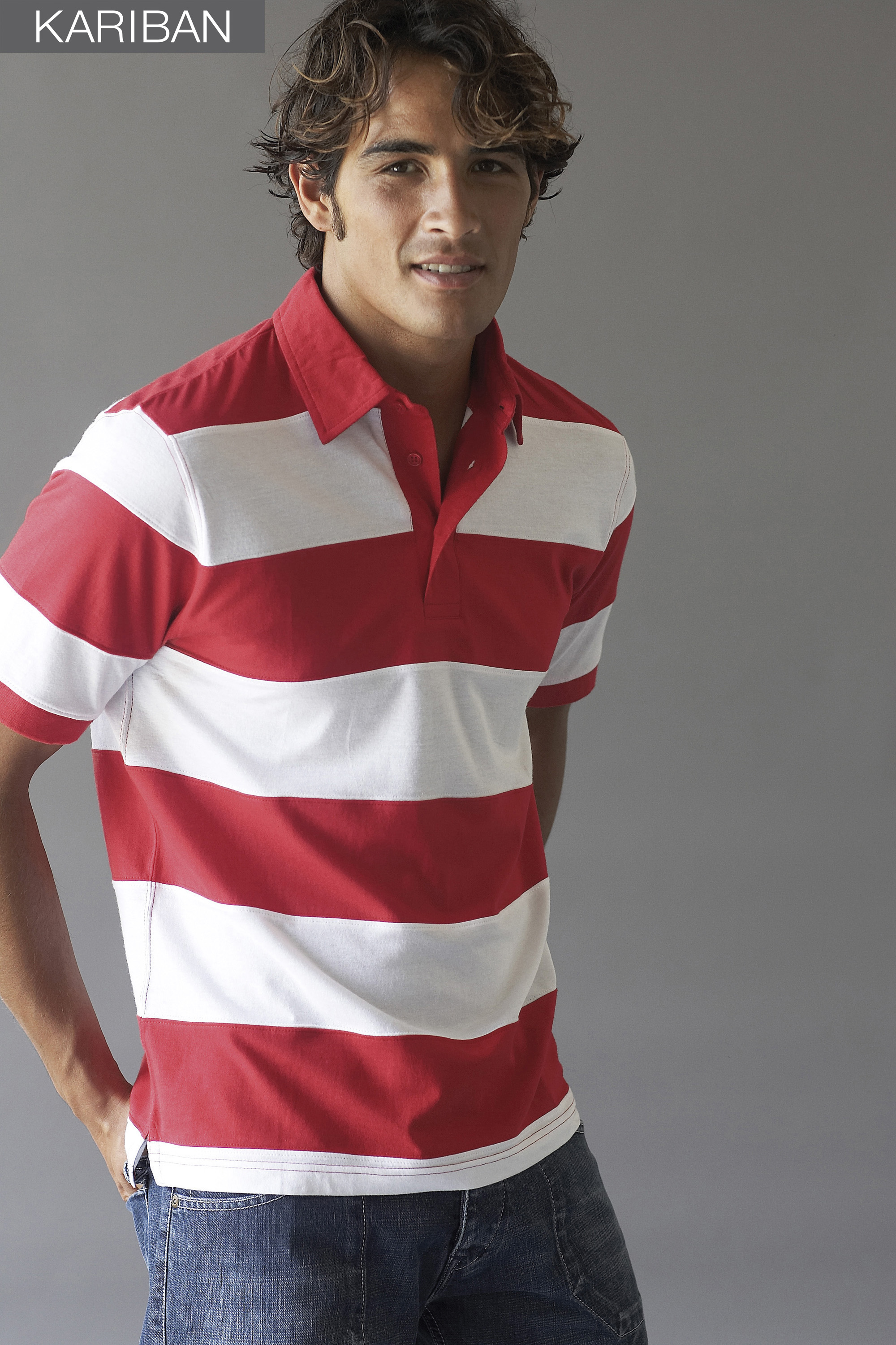 K237 RAY BI-COLOR STRIPED POLO rood