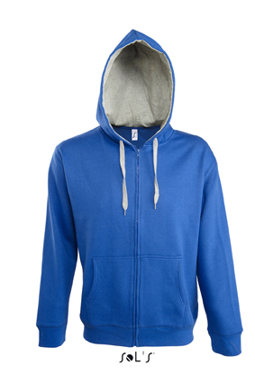 Sols Soul Men Contrast Zip Hooded sweatshirt Royal Blue - Grey Melange