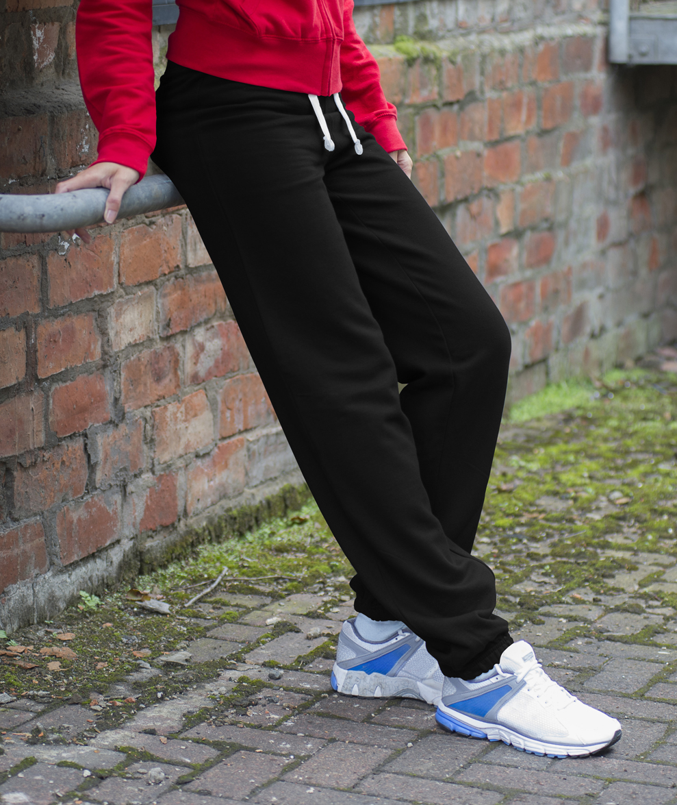 AWDis Girlie Cuffed Dames Joggingbroek JH076 Jet Black