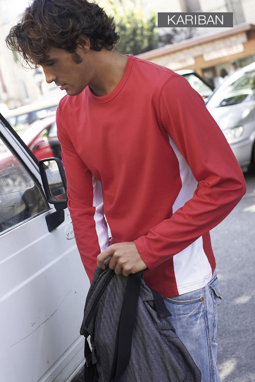 Tweekleurige T-shirt met lange mouwen