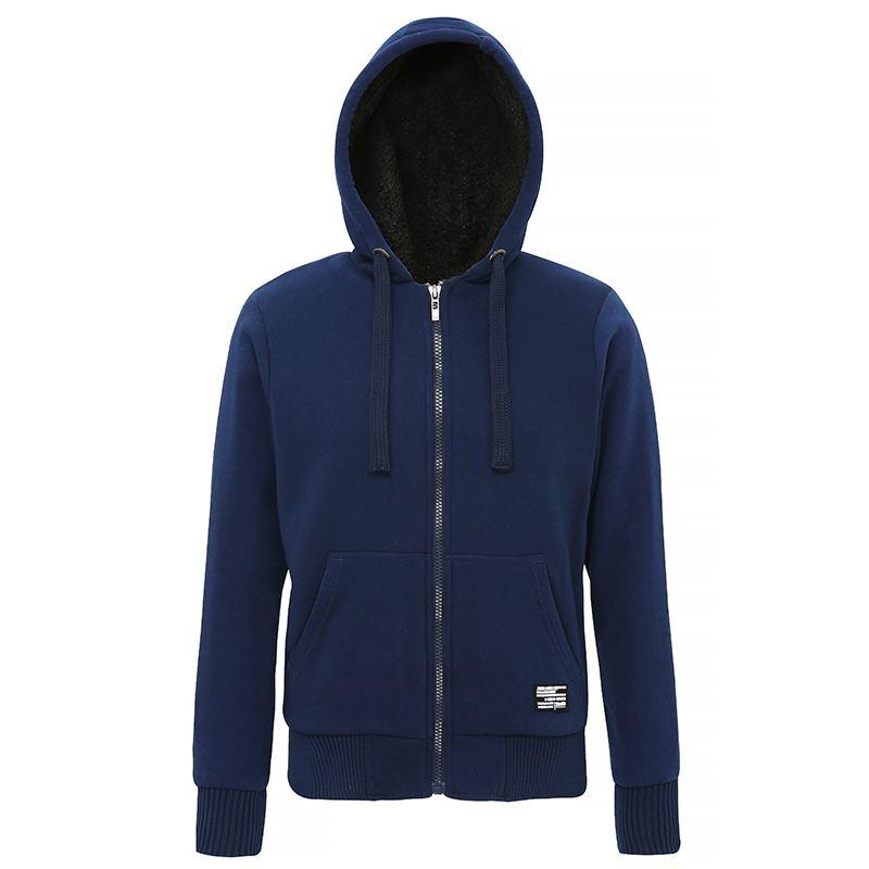 Affordable Fashion Sherpa fleece lined zip hoodie blauw