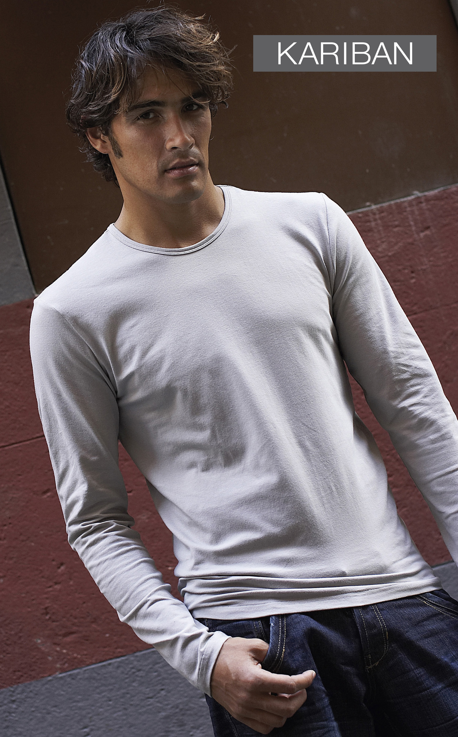 Heren T-shirt met lange mouwen