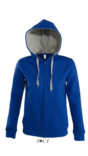 Sols Soul Women Contrast Zip Hoodie Royal Blue - Grey Melange