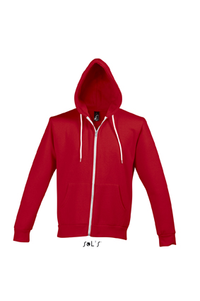 Sols Silver Unisex Zip Hooded Silver Red