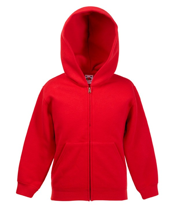 Fruit of the Loom Kids Zip Hoodie Sweater Red