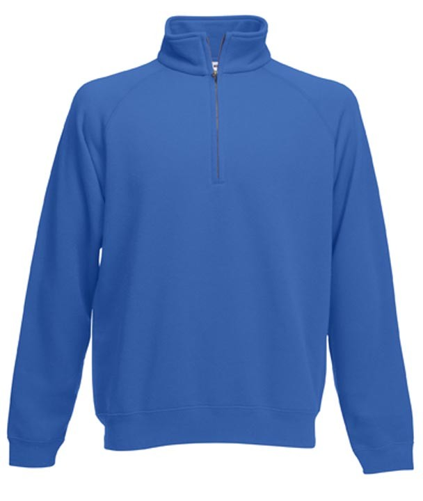 Fruit of the Loom Zip Neck Sweat Royal Blue