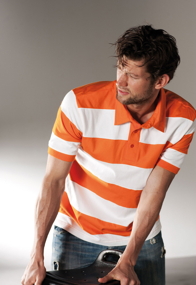 K237 BI-COLOR STRIPED POLO