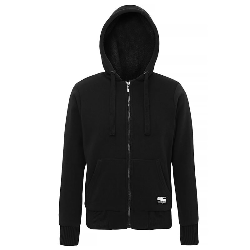 Affordable Fashion Sherpa fleece lined zip hoodie zwart