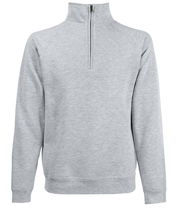 Fruit of the Loom Zip Neck Sweater Heather Grey